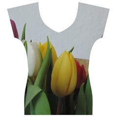 Colorful bouquet Tulips Women s V-Neck Cap Sleeve Top