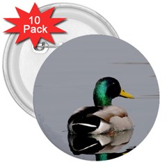 Swimming Duck 3  Buttons (10 Pack)