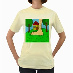 Giant foot Women s Yellow T-Shirt