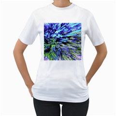 Colorful Floral Art Women s T-Shirt (White) (Two Sided)