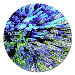 Colorful Floral Art Magnet 5  (Round)