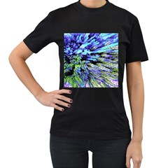 Colorful Floral Art Women s T-Shirt (Black) (Two Sided)