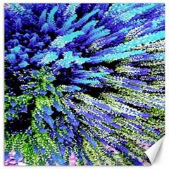 Colorful Floral Art Canvas 16  x 16