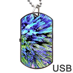 Colorful Floral Art Dog Tag USB Flash (Two Sides)