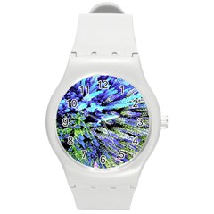 Colorful Floral Art Round Plastic Sport Watch (M)