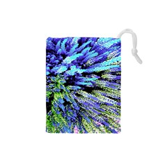 Colorful Floral Art Drawstring Pouches (Small)