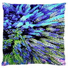 Colorful Floral Art Large Flano Cushion Case (One Side)