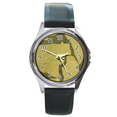 Stylish Gold Stone Round Metal Watch