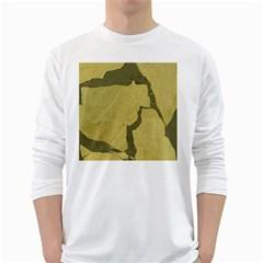 Stylish Gold Stone White Long Sleeve T Shirts