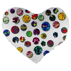 Play with me Large 19  Premium Heart Shape Cushions