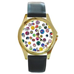 Play with me Round Gold Metal Watch