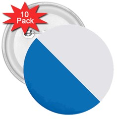 Flag of Canton of Zürich 3  Buttons (10 pack)