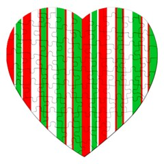 Red Green White Christmas Pattern Jigsaw Puzzle (Heart)