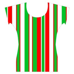 Red Green White Christmas Pattern Women s Cap Sleeve Top