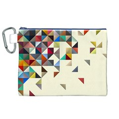 Retro Pattern Of Geometric Shapes Canvas Cosmetic Bag (XL)