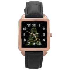Xmas tree 2 Rose Gold Leather Watch