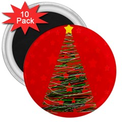 Xmas tree 3 3  Magnets (10 pack)