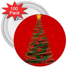 Xmas tree 3 3  Buttons (100 pack)