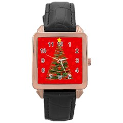 Xmas tree 3 Rose Gold Leather Watch