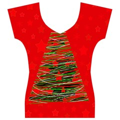 Xmas tree 3 Women s V-Neck Cap Sleeve Top