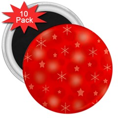 Red Xmas desing 3  Magnets (10 pack)
