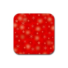 Red Xmas desing Rubber Coaster (Square)