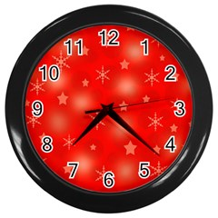 Red Xmas desing Wall Clocks (Black)