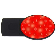 Red Xmas desing USB Flash Drive Oval (2 GB)