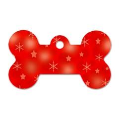 Red Xmas desing Dog Tag Bone (Two Sides)