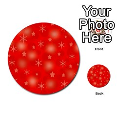 Red Xmas desing Multi-purpose Cards (Round)