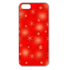 Red Xmas desing Apple Seamless iPhone 5 Case (Clear)