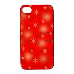 Red Xmas desing Apple iPhone 4/4S Hardshell Case with Stand