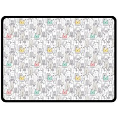Doodle Cats  Double Sided Fleece Blanket (Large)