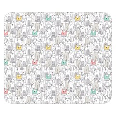 Doodle Cats  Double Sided Flano Blanket (Small)