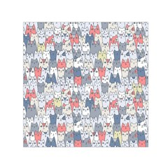 Cats Family  Small Satin Scarf (Square)