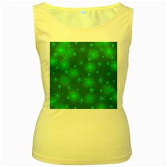 Green Xmas design Women s Yellow Tank Top