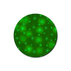 Green Xmas design Rubber Round Coaster (4 pack)