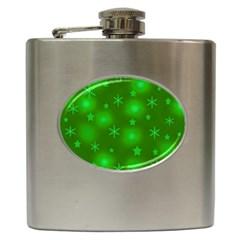 Green Xmas design Hip Flask (6 oz)