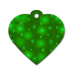 Green Xmas design Dog Tag Heart (Two Sides)
