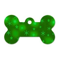 Green Xmas design Dog Tag Bone (One Side)