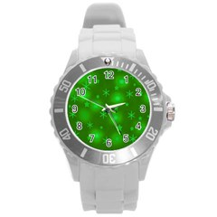 Green Xmas design Round Plastic Sport Watch (L)