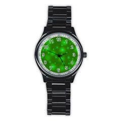Green Xmas design Stainless Steel Round Watch