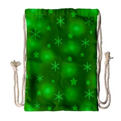 Green Xmas design Drawstring Bag (Large)