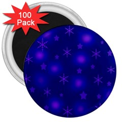 Blue Xmas design 3  Magnets (100 pack)