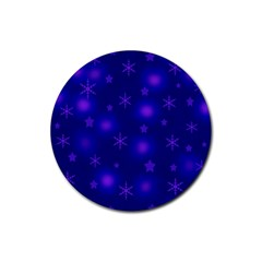 Blue Xmas design Rubber Round Coaster (4 pack)