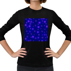 Blue Xmas design Women s Long Sleeve Dark T-Shirts