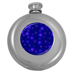 Blue Xmas design Round Hip Flask (5 oz)