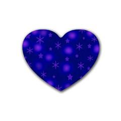 Blue Xmas design Rubber Coaster (Heart)