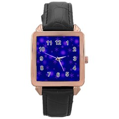 Blue Xmas design Rose Gold Leather Watch