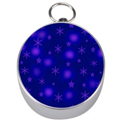 Blue Xmas design Silver Compasses